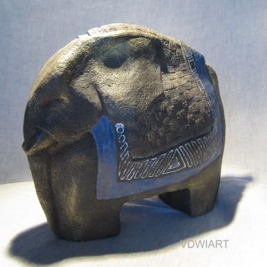 """""""Petit éléphant émail bleu"""" h: 22cm"""