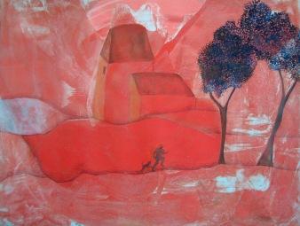 Joggeur et son chien dans un paysage rouge