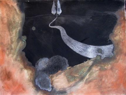 Paysage de nuit aux deux cyprès
